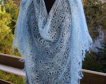 "Scarf ""cobwee""/ethnic/knitted/light blue color/elegant/autumn schal/virgin wool/ajour muster/elegant by ELENAMODA."