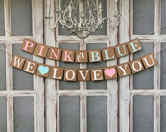 BABY GENDER REVEAL Party - Baby Shower dECOR - Pink or Blue - Baby Shower Signs - Party Decorations