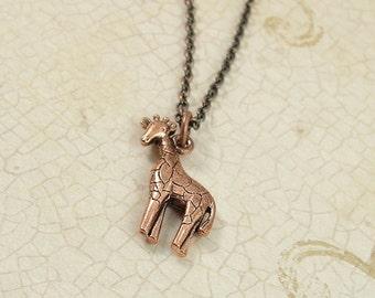 Giraffe Necklace, Antique Copper Giraffe Charm on a Copper Cable Chain