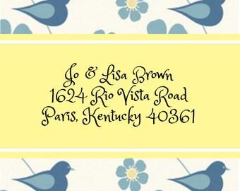 Bluebird with Blue Flowers Address Labels