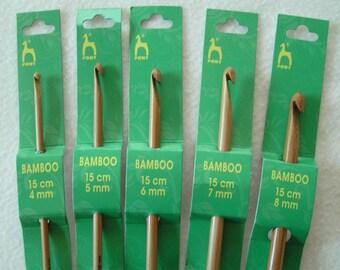 Crochet hook Bamboo wood hook from Pony 4mm 5mm 6mm 7mm 8mm