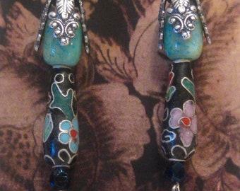 Cloisonne Shoulder Duster Earrings