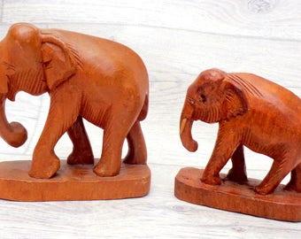 Vintage  Wood Elephant  / Hand Carved Elephant Figurine / Wooden Elephant / Elephant Decor / Elephant Statuette