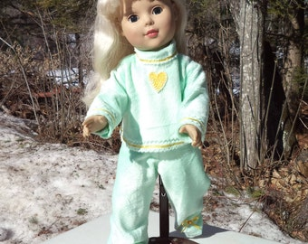 "18"" light green doll pajamas with gold trim, two piece jammies, mint green doll jammies, footed non skid pajamas, pull on jammies"
