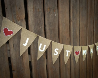 Just Married Garland Just Married Bunting Just Married Banner Wedding Banner Wedding Decor Burlap Banner Burlap Wedding Garland