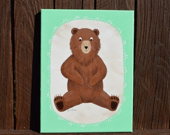 You Are My Honey Bear! - Original Bear Painting on a 9x12 Canvas / Animal painting