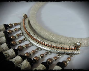 crew neck LIKE A STAR - metallic linen fabric - metal silver (with copper beads) and black tassels
