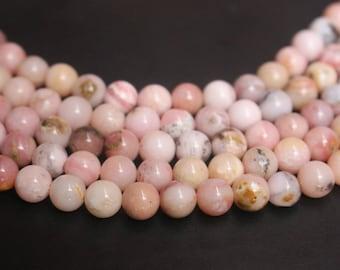 6mm 8mm 10mm 12mm Natural Peruvian Pink Opal beads ,15  inch per strand.