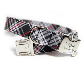 Personalized Plaid Dog Collar, Black and Red Plaid  Collar