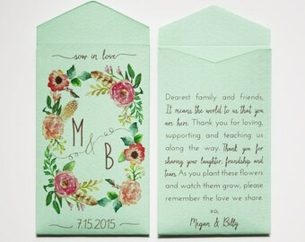 Custom Rustic Wedding Favor Seed Packet Envelopes - Light Green Seed Packet Wedding Favor - Personalized Seed Packet - Many Colors Available