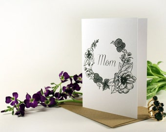 Greeting card for Mom- flower drawing