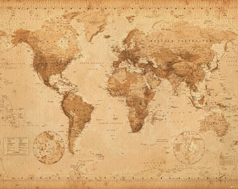 Antique Vintage Style World Map Poster