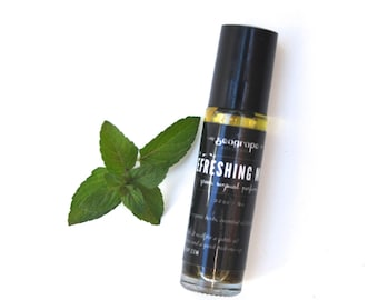 Refreshing Mint... all natural roll-on essential oil perfume with peppermint, rosemary, lemon and clove