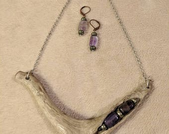 Driftwood necklace with Amethyst and pyrite beads matching earrings