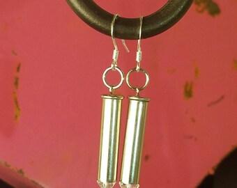 Dangle .22 Magnum Nickel Bullet Earrings - Clear Beads