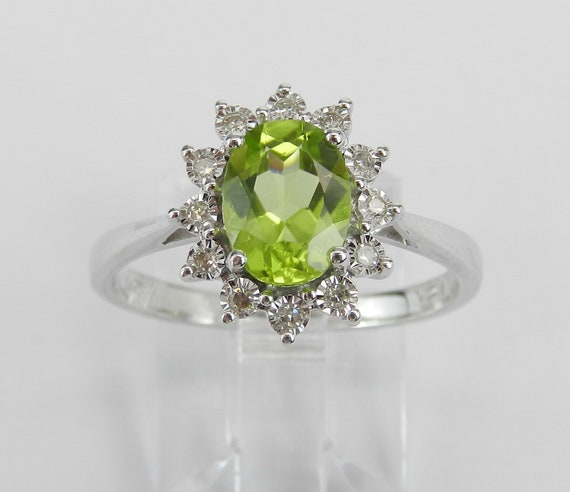 14K White Gold Diamond and Peridot Halo Engagement Ring Size 7.25 August Gemstone