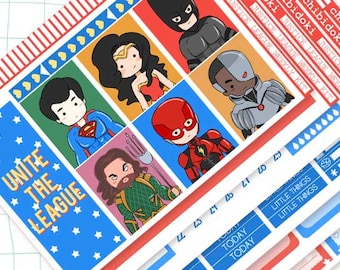 Cute Justice League Vertical Weekly Planner Kit for Erin Condren Planner  Cute Weekly Kit  Planner Weekly Kit   Planner Kit  Kawaii