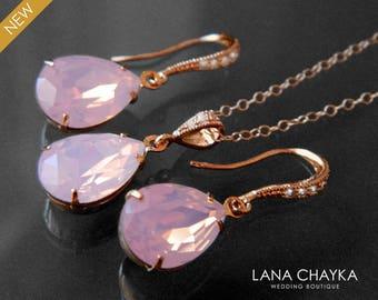 Pink Opal Rose Gold Jewelry Set Swarovski Rose Water Opal Earrings&Necklace Set Pink Opal Crystal Bridal Set Wedding Bridesmaid Jewelry Set
