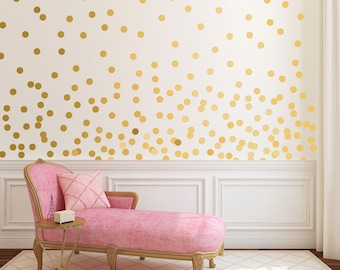 Gold Dot Wall Decals - Metallic Gold Polka Dots - Gold Wall Stickers - Peel and Stick Dots - WBDOTS