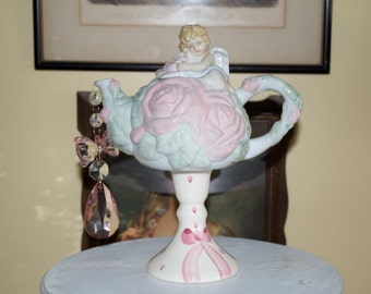 Little Angel Teapot Centerpiece, Victorian Tea Party or Birthday Party Decoration