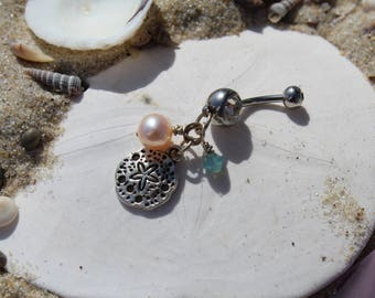 Sand Dollar, Beachy Navel Ring for Belly Button Piercing, Crystal, Sterling, Stainless Steel FREE SHIPPING