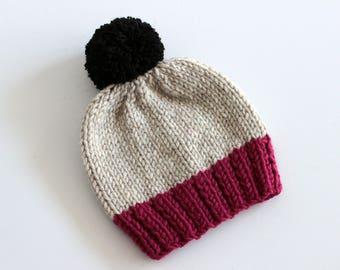SALE Toddler Girl Hat, Pom Pom Hat, Toddler Knit Hat, Toddler Knit Beanie, Toddler Girl Pom Pom Hat, Knit Toddler Hat