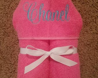 Personalized Script Name Hooded Towel - choice of name and towel colors