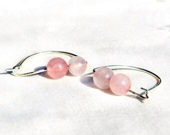 Quartz rose boucles d'oreilles argent Pierre Hoop boucles d'oreilles Boucles d'oreilles rose doux Pierre bijoux argent, bijoux Made in Israël livraison gratuite