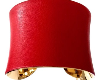 Red Leather Gold Lined Cuff Bracelet - by UNEARTHED