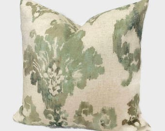 Ikat Pillow French Country Throw Pillow Green Blue Turquoise Seafoam Cushion Cover Cottage Accent Lumbar Toss Pillow Zippered Pillow