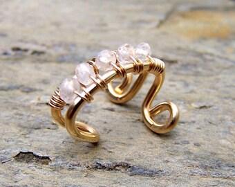 14K Gold Filled Body Jewelry Gold Ear Cuff Gold Ear Wrap Wedding Ear Cuff Moonstone Jewelry