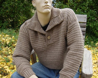 Men's Sweater, Men's Wool Sweater, Wool Sweater Men, Men's Crochet Sweater, Tan Sweater, Optional Funnel Neck, Available in M/L and XL