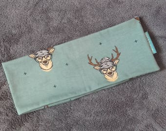Deer with glasses print sport blue headband