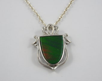 Sterling Silver  Labradorite Crest Shaped Pendant With An 18 Inch Chain