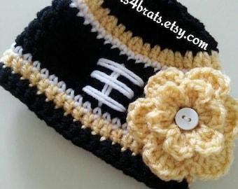 New Orleans Saints Baby Hat, Crochet Saints Hat, New Orleans Saints Football Hat, Baby Girl Saints Football Hat, Newborn Saints Photo Prop