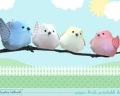 whimsical bird ornaments - perfect for spring, baby shower, wedding decorations and more - printable PDF - INSTANT download