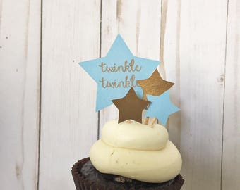 Twinkle Twinkle Baby Boy Baby Shower Cupcake Toppers