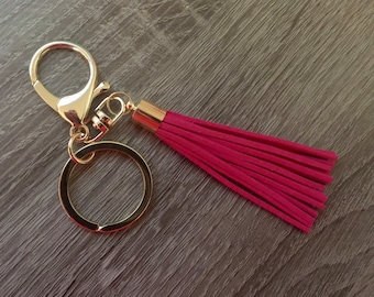 Large tassel keychains, clip on tassels, lobster clasp with extra keyring tassel keychain