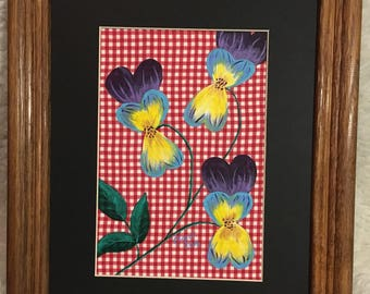 Flowers on Red Gingham