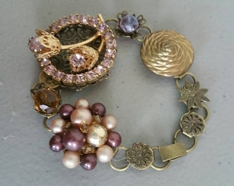 Earring Bracelet Made From Found Bits And Pieces ~ Vintage Earrings Broaches  & Buttons ~ Unique Wedding Brides Maid Gifts