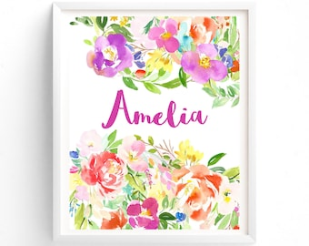 Nursery Art Floral Custom name, Monogram, Nursery Printable, Floral calligraphy 8 x 10 print art, girls