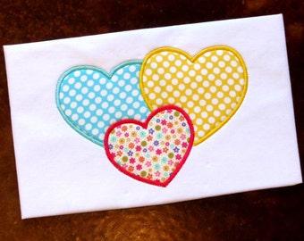 Triple Heart Applique Design, Machine Applique, Machine Embroidery Pattern