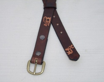 Child's Leather Belt Stamped with Deer