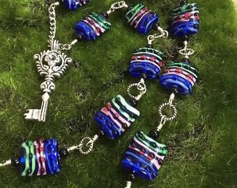 Steampunk Key Pendant Necklace, Lampwork Glass Bead Necklace, Steampunk Jewelry, Lampwork Glass Bead Jewelry