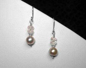 Pearl and Morganite Earrings in Silver, 7.4 mm
