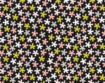 Meow Asterisk Black Cat fabric 100% Cotton Riley Blake Fabric in 1/4, Half 3/4 and a Yard for Sewing/ Quilting/ Crafting/  Applique Sewing