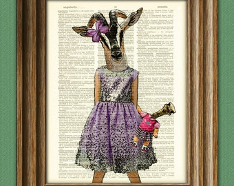 Antelope girl in a pretty lavender dress Safari Girls Collection illustration beautifully upcycled dictionary page book art print