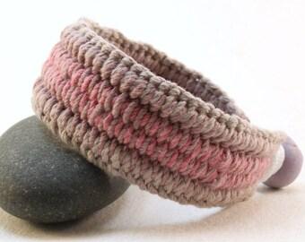 sunset purple cotton cuff interweave bracelet  handwoven bracelet handcrafted cuff 4363