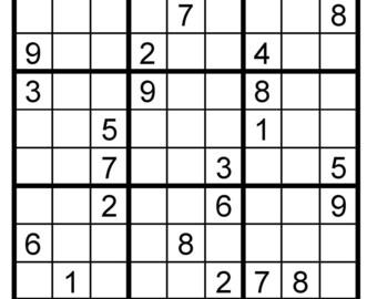 Sudoku Instant Download Printable Puzzle