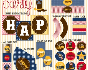 Cowboy Party PRINTABLE (INSTANT DOWNLOAD) Birthday by Love The Day